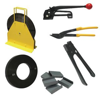 19MM Steel Straping Kit Including - Roll of 19mm Steel Strap, Dispenser, Tensioner, Cutter, Sealer, Box of Seals