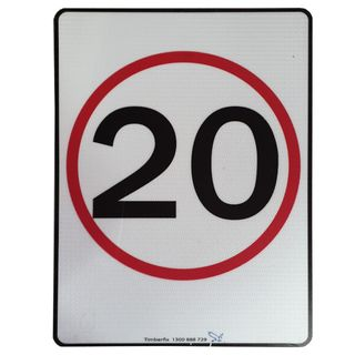 Clearance Signage - 20 km Sign - 450 x 600mm - Metal Reflective