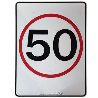 Clearance Signage - 50 km Sign - 450 x 600mm - Poly