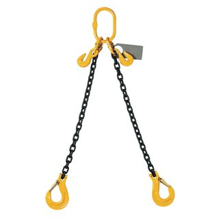 8mm x 2mtr Double Leg Chain Sling - Nett (With Clevis Sling Hook C/W Safety Latches & 2 x Shortening Grab Hooks)