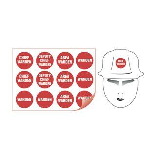 Sheet of 12 (50mm Diametre) Helmet Red Fire Warden Stickers