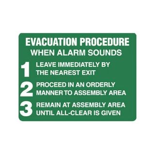 Evacuation Procedure 450 x 300mm Poly Sign