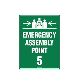 Emergency Assembly Point 5  600mm x 450mm Poly Sign