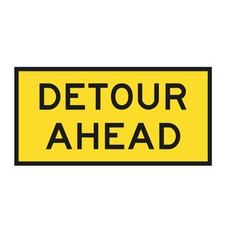 1200 x 600mm Detour Ahead Metal Sign