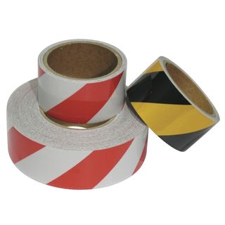 48mm x 10mtr Roll Red/White Reflective Tape Class 2