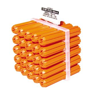 50mm Long Orange Wall Plugs  (10mm Drill Size)