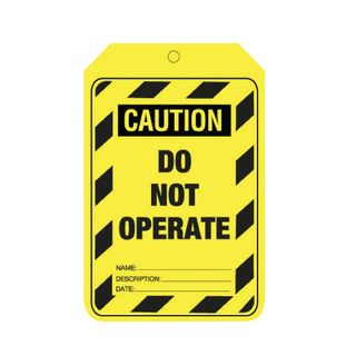 Caution - Do not operate - Card Tag