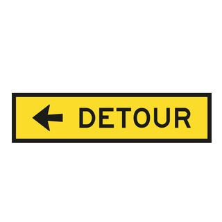 1200 x 300mm Detour Metal Sign