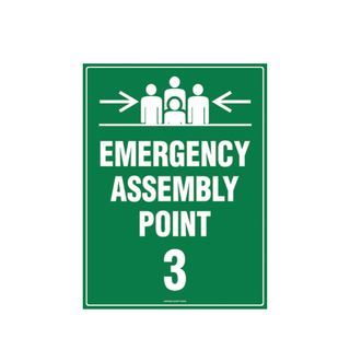 Emergency Assembly Point 3  600mm x 450mm Poly Sign