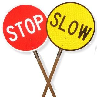 Stop/Slow Bats 450mm Sign With Handle-Reflective-Class 2