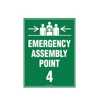 Emergency Assembly Point 4  600mm x 450mm Poly Sign