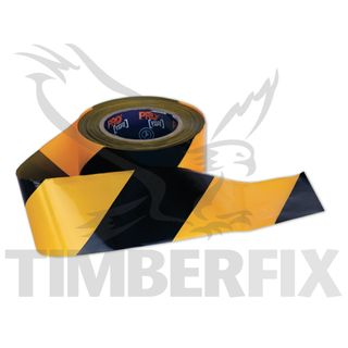 75mm x 100mtr Yellow & Black Tape