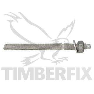 M12 x 160mm Galvanised Chemstuds with nut and washer