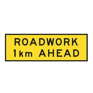 2400 x 900mm Roadwork 1km Sign