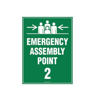 Emergency Assembly Point 2  600mm x 450mm Poly Sign