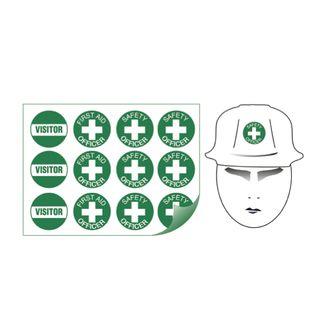 Sheet of 12 (50mm Diametre) Helmet Green Safety Officer Stickers