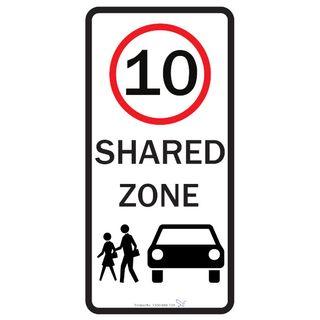 10km Shared Zone 450 x 750mm Aluminium Sign