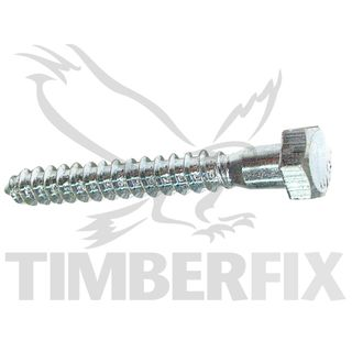 M12 x 130mm Zinc Coach Screw Hex Head
