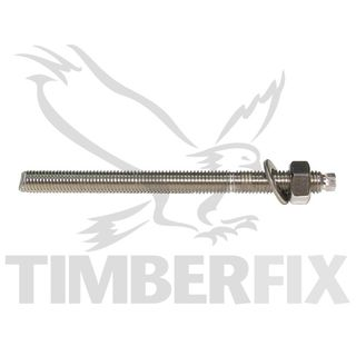 M10 x 130mm Stainless Chemstuds with nut and washer