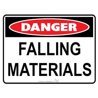 Falling Materials 600 x 450mm Poly Sign