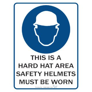 This is a Hard Hat Area 600mm x 450mm Poly Sign