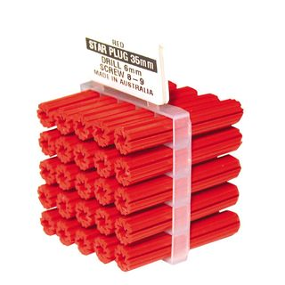 50mm Long Red Wall Plugs   (6mm Drill Size)