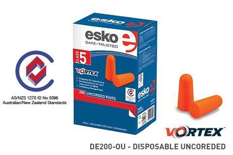 ESKO VORTEX ORANGE DISPOSABLE EAR PLUGS CLASS 5