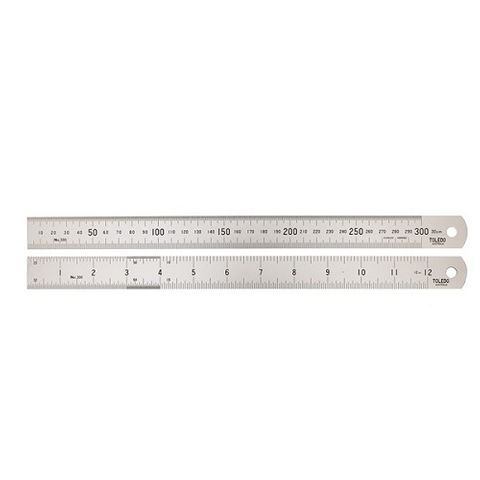 TOLEDO STAINLESS STEEL RULE DOUBLE SIDED METRIC & IMPERIAL - 300MM