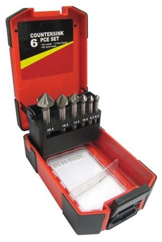 BLU-MOL 6PCE COUNTERSINK SET 90DEG (6, 8, 10, 12, 16, 20.5mm)