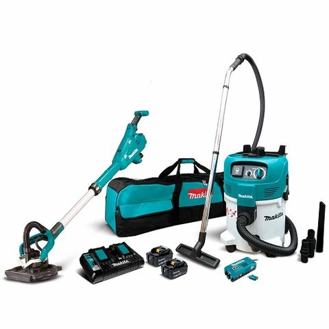 MAKITA 18V LXT BRUSHLESS DRYWALL SANDER AND M-CLASS VACUUM 5.0AH KIT INCLUDES.