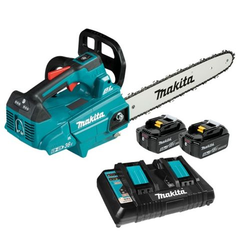 "MAKITA 18VX2 (36V) BRUSHLESS TOP HANDLE CHAINSAW 350MM (14"") 5ah KIT"