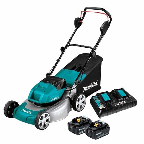 "MAKITA 18VX2 BRUSHLESS 460MM 18"" METAL DECK LAWN MOWER 5ah KIT"