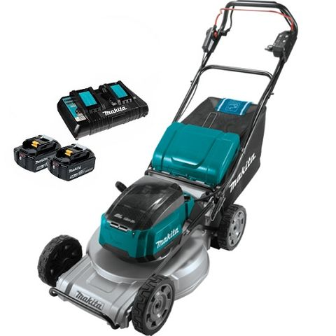 "MAKITA 18VX2 BRUSHLESS 530MM 21"" ALUMINIUM DECK SELF-PROPELLED LAWN MOWER 5AH KI"
