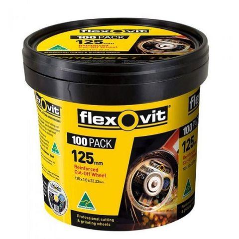 FLEXOVIT 125 X 1.0MM STEEL & STAINLESS CUT OFF DISC - MEGA INOX - 100 PIECE TUB