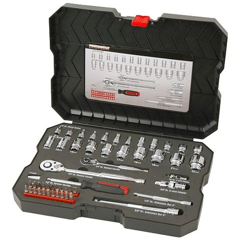 "POWERBUILT 1/4"" DR, 3/8"" DR 53PC METRIC SOCKET SET"