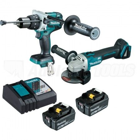 MAKITA 18V CORDLESS BRUSHLESS 2PC HAMMER DRILL / ANGLE GRINDER KIT