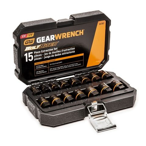 "GEARWRENCH 15 PC. 1/4"" & 3/8"" DRIVE BOLT BITER IMPACT EXTRACTION SOCKET SET"