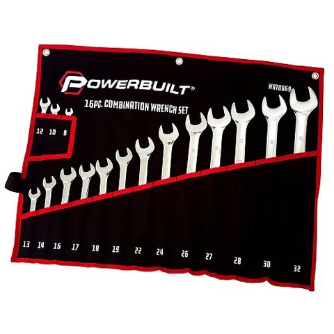POWERBUILT 16PC METRIC RING AND OPEN-END SPANNER SET – MIRROR POLISHED