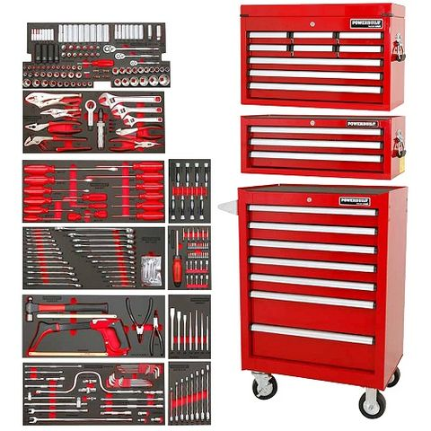 POWERBUILT 317PC TOOL CHEST, ROLLER CABINET & ASSORTED TOOLS