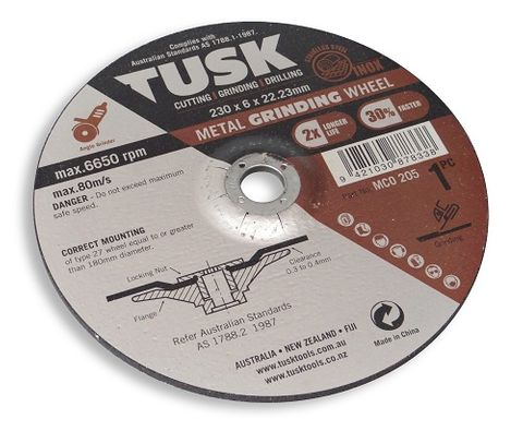 TUSK METAL GRINDING WHEEL 180 X 6 EACH