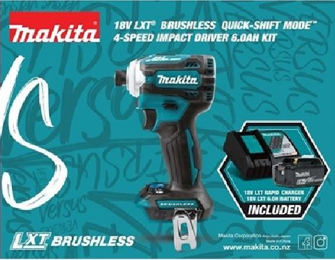 MAKITA BLUE C/LESS BL IMPACT 18V + 1 x 6.0A.H BATTERY + 1 X DC18RC RAPID