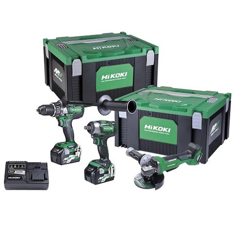"HIKOKI 36V KIT - IMPACT DRILL 1/2"" COMPACT IMPACT WRENCH 125MM GRINDER"