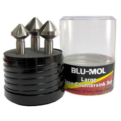 BLU-MOL 3PCE COUNTERSINK SET 90DEG (20.5, 25 ,31mm)