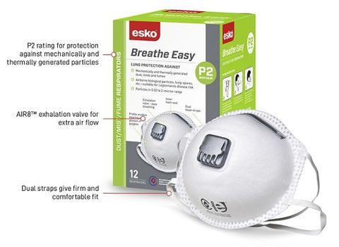 ESKO BREATHE EASY P2 VALVED MASK (GREEN BOX)