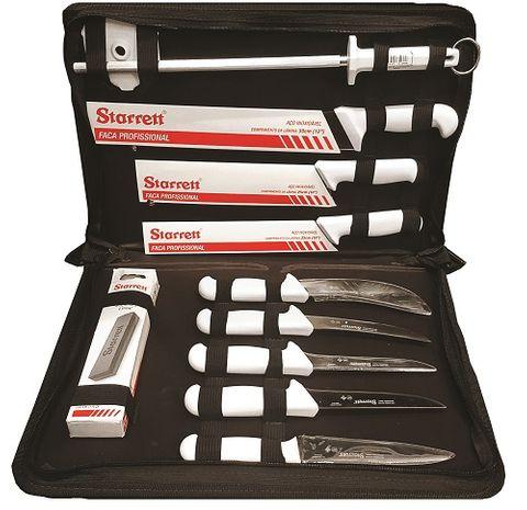 STARRETT 11pc BUTCHERS KNIFE SET White Handles