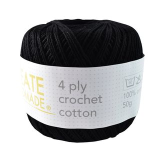 4PLY CROCHET COTTON BLACK