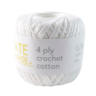 4PLY CROCHET COTTON WHITE