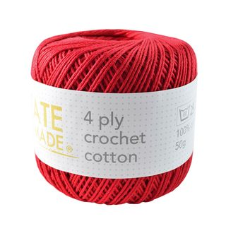 4PLY CROCHET COTTON RED