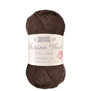 TILDA YARN DOLL HAIR DARK BROWN