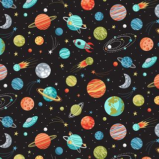 SPACE PLANETS BLACK